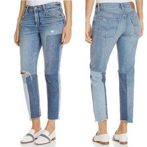 Levi Strauss Button Fly Ankle Color-block Jeans